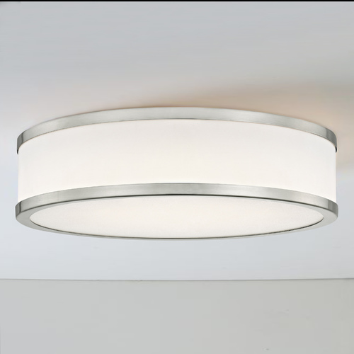 Design Classics Lighting LED Flush Ceiling Light Satin Nickel White Acrylic Shade 14-Inch 5014-9030T16-09