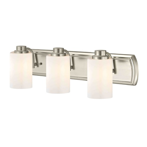 Design Classics Lighting 3-Light Bathroom Light in Satin Nickel and Shiny Opal Glass 1203-09 GL1024C