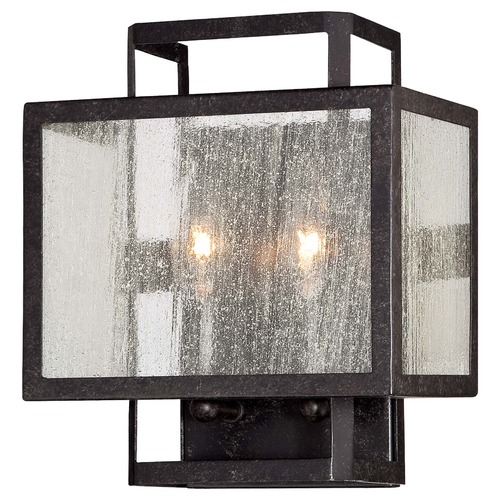 Minka Lighting Minka Camden Square Aged Charcoal Sconce 4870-283