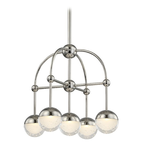 Hudson Valley Lighting Mid-Century Modern Mini-Chandelier LED 5-Lt Polished Nickel by Hudson Valley 1223-PN