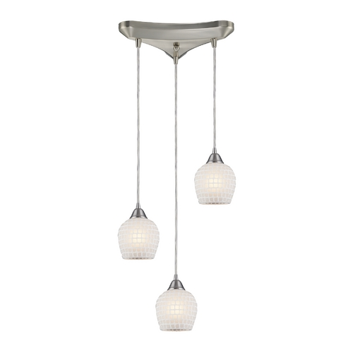 Elk Lighting Modern Multi-Light Pendant Light with White Glass and 3-Lights 528-3WHT