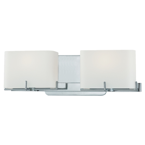 George Kovacs Lighting Modern Bathroom Light with White Glass in Chrome Finish P5152-077
