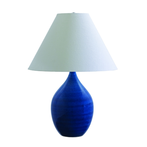 House of Troy Lighting Table Lamp with White Shade in Blue Gloss Finish GS400-BG