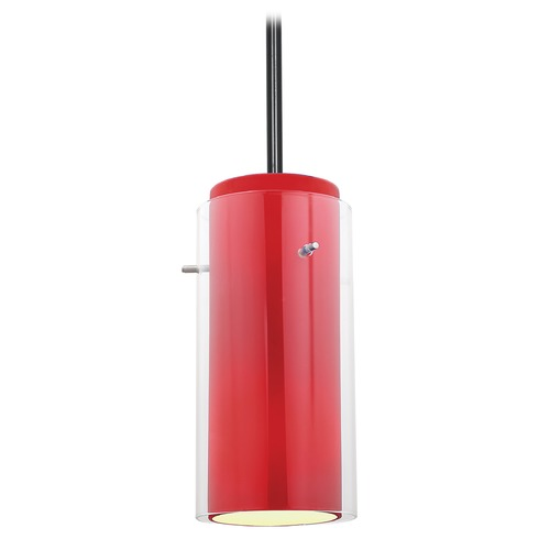 Access Lighting Modern Mini-Pendant Light with Red Glass 28033-1R-ORB/CLRD