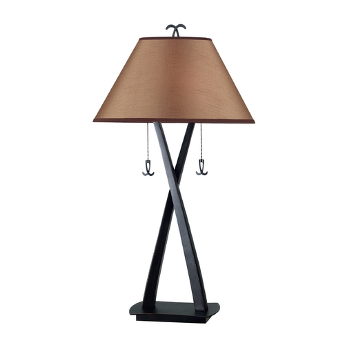 Kenroy Home Lighting Table Lamp with Brown Shades in Oil Rubbed Bronze Finish 20100ORB
