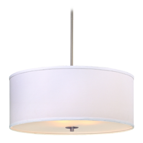 Design Classics Lighting Large Modern Drum Pendant Light with White Shade DCL 6528-09 SH7517  KIT