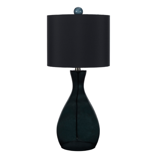 AF Lighting Table Lamp with Black Shade in Smoke Finish 8517-TL