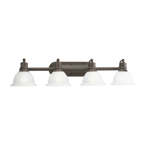 Progress Lighting Progress Bathroom Light with White Glass in Antique Bronze Finish P3164-20