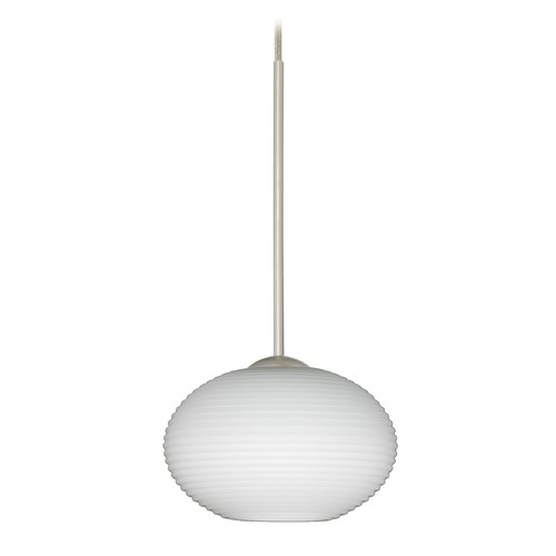 Besa Lighting Besa Lighting Lasso Satin Nickel LED Mini-Pendant Light with Globe Shade 1XT-561207-LED-SN