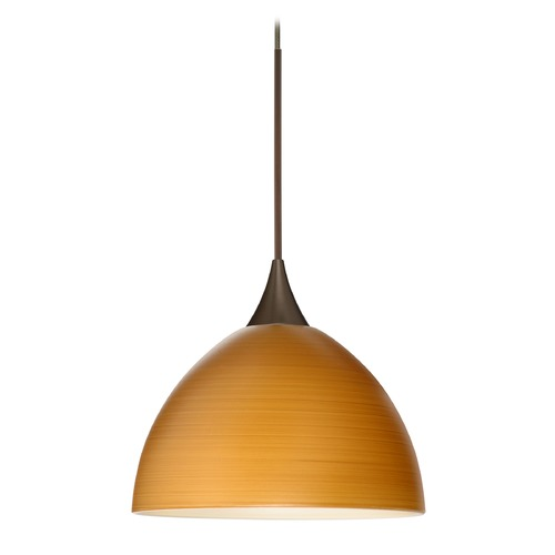 Besa Lighting Besa Lighting Brella Bronze Mini-Pendant Light with Bowl / Dome Shade 1XT-4679OK-BR