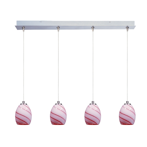 ET2 Lighting Modern Low Voltage Multi-Light Pendant Light with Multi-Color Glass and 4-Lights E94936-107SN