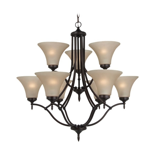 Sea Gull Lighting Chandelier with Beige / Cream Glass in Burnt Sienna Finish 31182-710