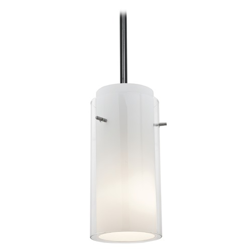 Access Lighting Modern Mini-Pendant Light with White Glass 28033-1R-ORB/CLOP