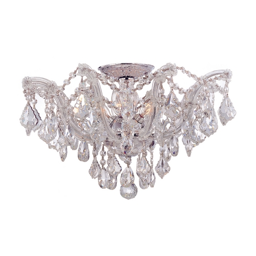 Crystorama Lighting Crystal Semi-Flushmount Light in Polished Chrome Finish 4437-CH-CL-S