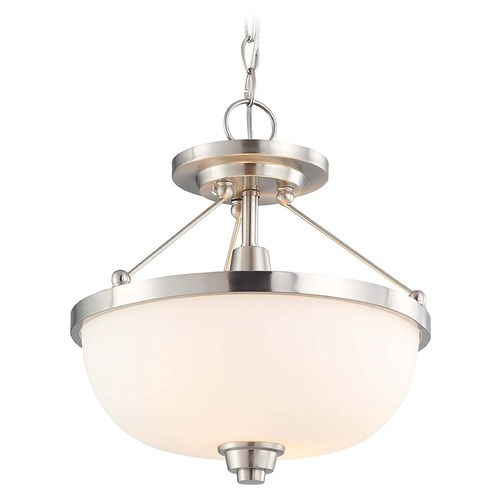 Nuvo Lighting Modern Pendant Light with White Glass in Brushed Nickel Finish 60/4188