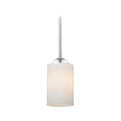 Design Classics Lighting Modern Chrome Mini-Pendant Light with Opal White Cylinder Glass 581-26 GL1024C
