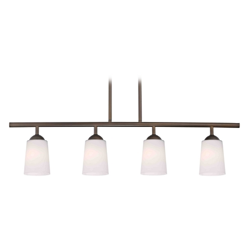 Design Classics Lighting Modern Island Light with White Glass in Neuvelle Bronze Finish 718-220 GL1027