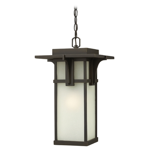 Hinkley Lighting Etched Seeded Glass LED Outdoor Hanging Light Oil Rubbed Bronze Hinkley Lighting 2232OZ-LED