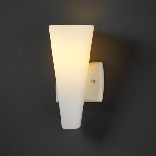 Justice Design Group Sconce Wall Light with White Glass in Vanilla Gloss Finish CER-7015-VAN