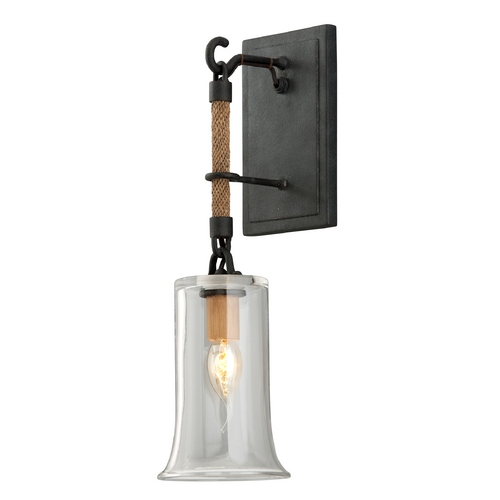 Troy Lighting Sconce Wall Light with Clear Glass in Shipyard Bronze Finish B3621