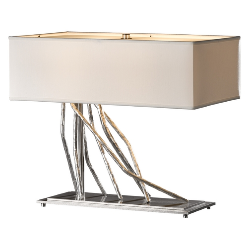 Hubbardton Forge Lighting Hubbardton Forge Lighting Brindille Vintage Platinum Table Lamp with Rectangle Shade 277763-82-649