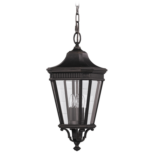 Home Solutions by Feiss Lighting Outdoor Hanging Light with Clear Glass in Grecian Bronze Finish OL5411GBZ