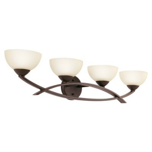 Kichler Lighting Kichler Modern Bathroom Light with Brown Glass in Olde Bronze Finish 45164OZ