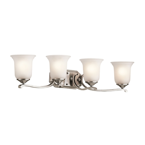 Kichler Lighting Kichler Bathroom Light with White Glass in Classic Pewter Finish 45404CLP