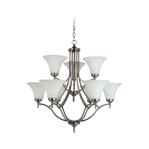 Sea Gull Lighting Chandelier with White Glass in Antique Brushed Nickel Finish 31182-965