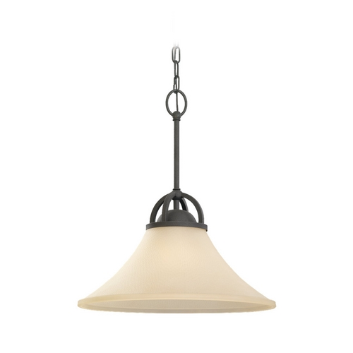 Sea Gull Lighting Pendant Light with Beige / Cream Glass in Blacksmith Finish 65375-839
