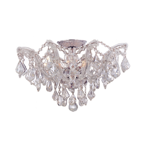 Crystorama Lighting Crystal Semi-Flushmount Light in Polished Chrome Finish 4437-CH-CL-SAQ