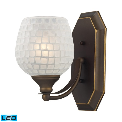 Elk Lighting Elk Lighting Bath and Spa Aged Bronze LED Sconce 570-1B-WHT-LED