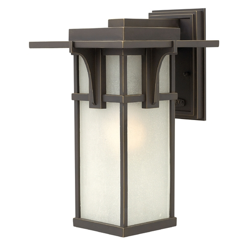 Hinkley Lighting Etched Seeded Glass Outdoor Wall Light Oil Rubbed Bronze Hinkley Lighting 2234OZ