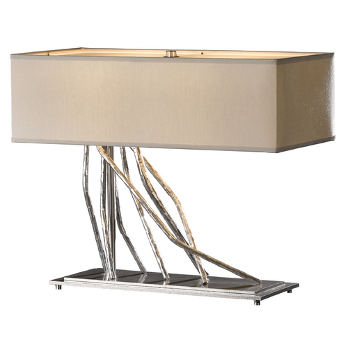 Hubbardton Forge Lighting Hubbardton Forge Lighting Brindille Vintage Platinum Table Lamp with Rectangle Shade 277763-82-757