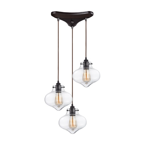 Elk Lighting Elk Lighting Kelsey Oil Rubbed Bronze Multi-Light Pendant with Bowl / Dome Shade 31954/3