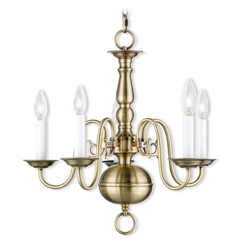Livex Lighting Livex Lighting Williamsburgh Antique Brass Chandelier 5005-01