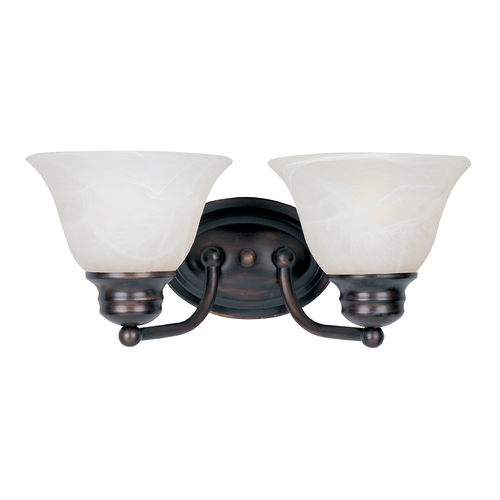 Maxim Lighting Bathroom Light with Alabaster Glass Shades in Oil Rubbed Bronze Finish 2687MROI