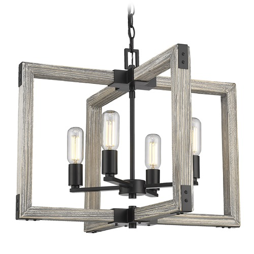 Golden Lighting Golden Lighting Lowell Black Chandelier 7808-4BLK