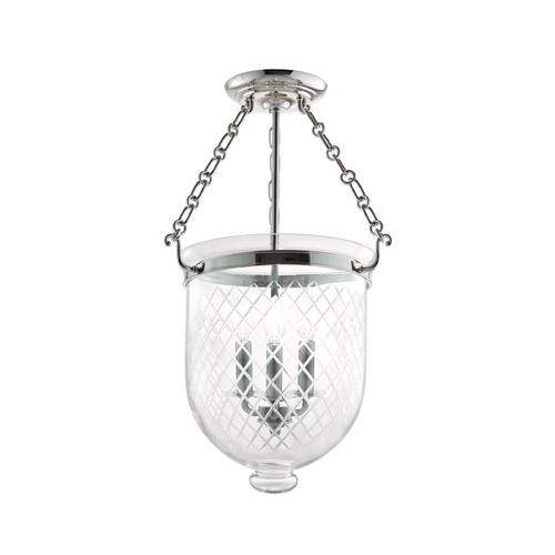 Hudson Valley Lighting Semi-Flushmount Light with Clear Glass in Polished Nickel Finish 253-PN-C2