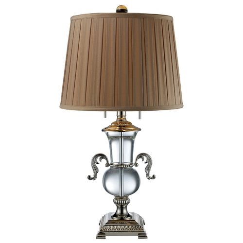 Elk Lighting Table Lamp with Brown Tones Shade in Polished Nickel and Crystal  D1810