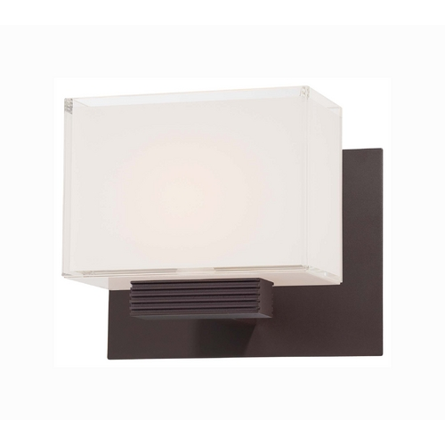 George Kovacs Lighting Modern Sconce with White Glass in Dorian Bronze Finish P5211-615B