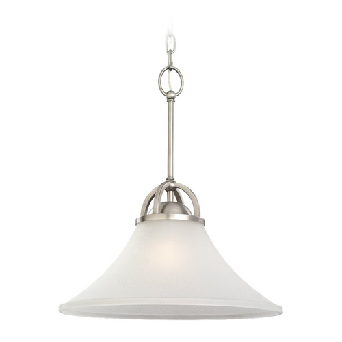 Sea Gull Lighting Pendant Light with White Glass in Antique Brushed Nickel Finish 65375-965