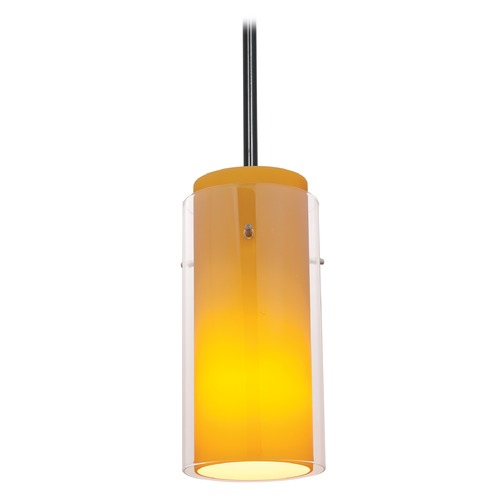 Access Lighting Modern Mini-Pendant Light with Amber Glass 28033-1R-ORB/CLAM