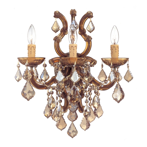 Crystorama Lighting Crystal Sconce Wall Light in Antique Brass Finish 4433-AB-GT-MWP