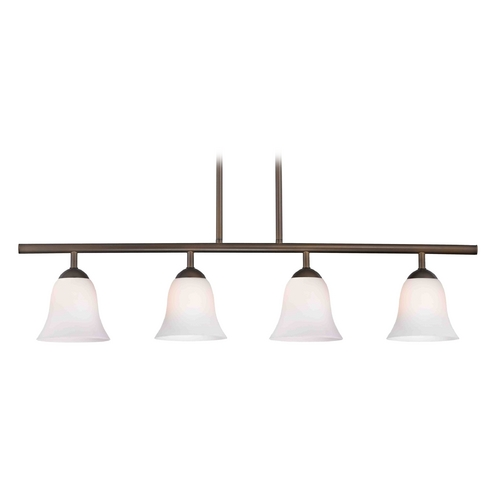 Design Classics Lighting Modern Island Light with White Glass in Neuvelle Bronze Finish 718-220 GL9222-WH