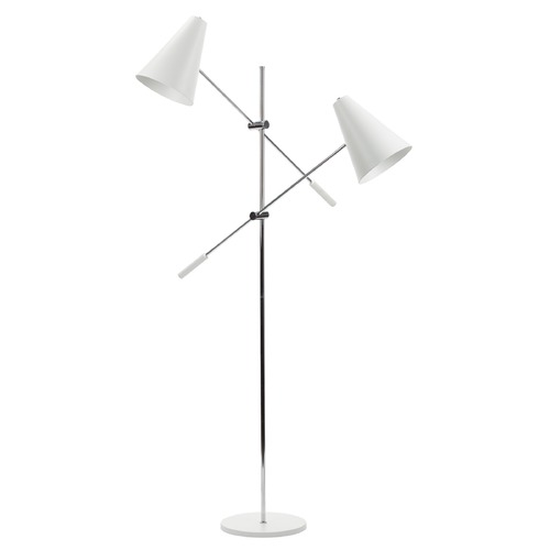 Nuevo Lighting Nuevo Lighting Tivat White and Chrome Floor Lamp with Conical Shade HGRA391
