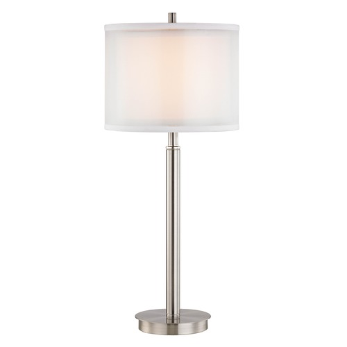 Dolan Designs Lighting Double Organza 3Way Table Lamp with Drum Shade Satin Nickel 15061-09