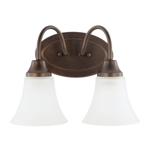 Sea Gull Lighting Bathroom Light with White Glass in Bell Metal Bronze Finish 44806-827