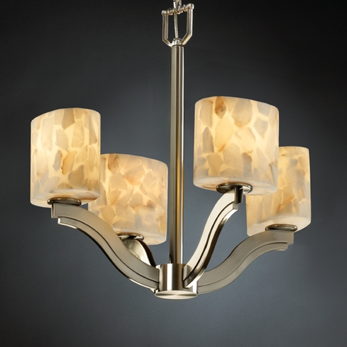 Justice Design Group Justice Design Group Alabaster Rocks! Collection Chandelier ALR-8970-30-NCKL