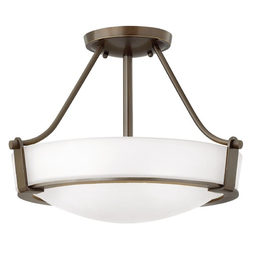 Hinkley Lighting Hinkley Lighting Hathaway Olde Bronze LED Semi-Flushmount Light 3220OB-WH-LED